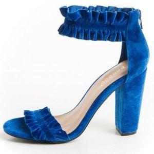 Shoes - 💕 New! Velvet ankle strap heels sandals 💕